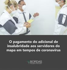 O pagamento do adicional de insalubridade aos servidores do MAPA em tempos de coronavírus